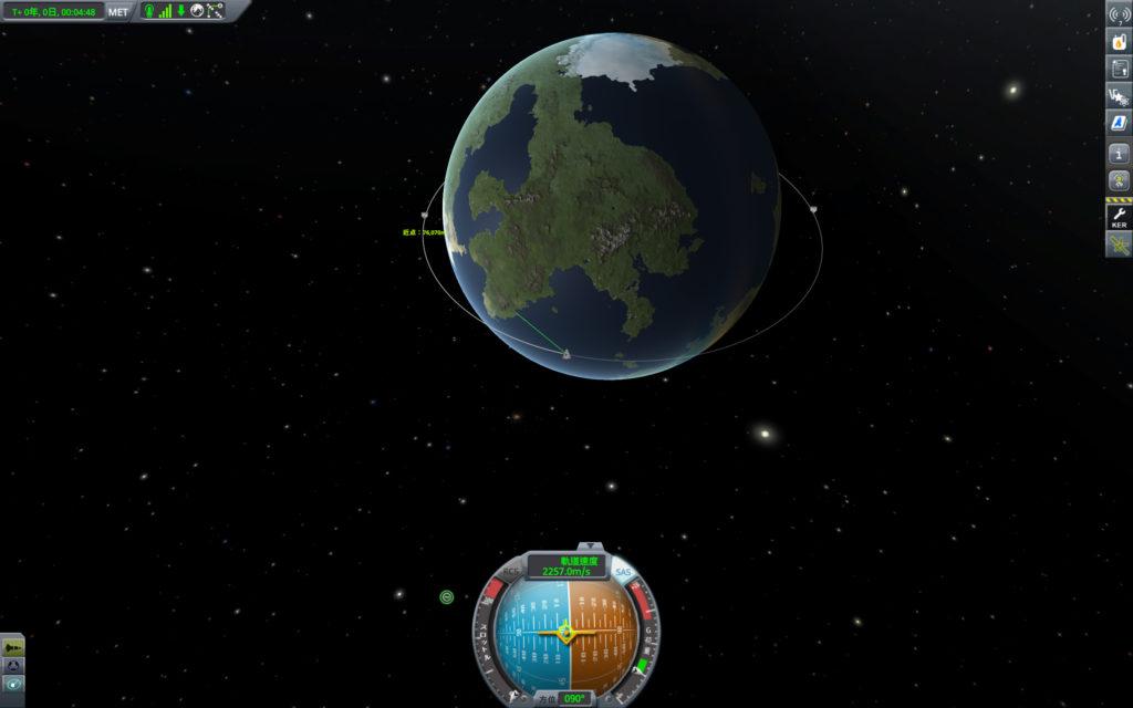 近地点PEが70000m以上になったため加速終了